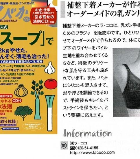 雑誌掲載情報【乳がん用ブラジャー】